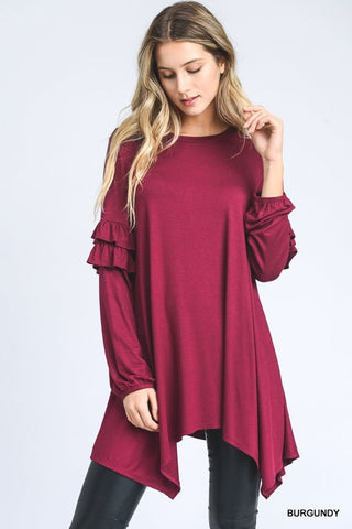 Solid Top with Long Bubble Sleeves