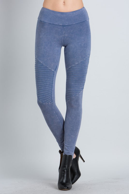 Mineral Washed Moto Leggings, Bottoms - Bohemian Bliss Boutique