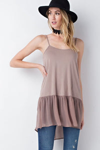 Bohemian Bliss Boutique,SHEER CHIFFON HEM SLIP TUNIC,Tops,La Vida