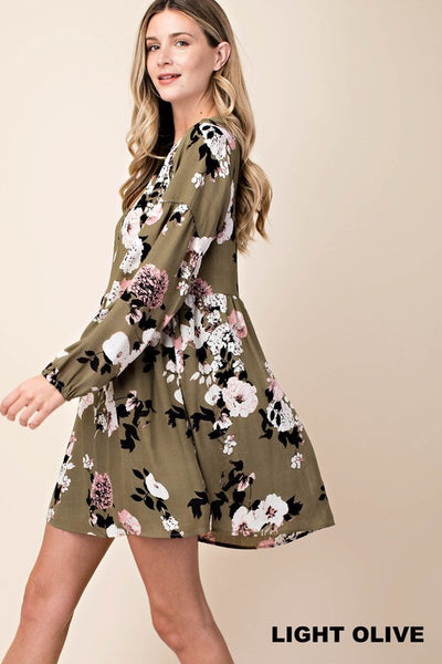Floral Choker Neck Dress