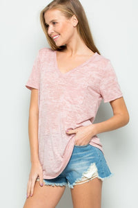 Bohemian Bliss Boutique,HEATHERED KNIT V-NECK POCKET TOP,Tops,Cloudwalk