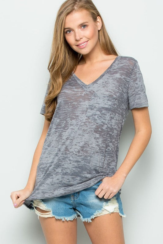 HEATHERED KNIT V-NECK POCKET TOP, Tops - Bohemian Bliss Boutique