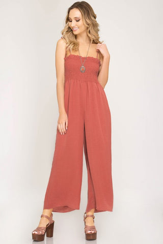 WOVEN SMOCKED TUBE TOP JUMPSUIT