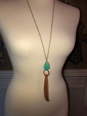 Tassel with Turquoise Bead Necklace