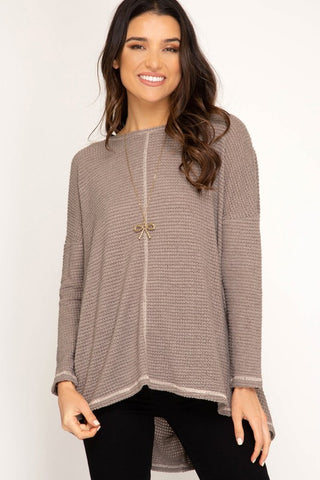 DROPPED OPEN BACK KNIT TOP