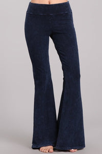 Electric Blue Mineral Washed Bellbottoms with Back Pockets