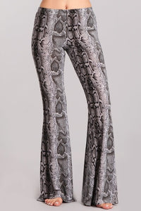 Black/Gray Snake Print Bellbottom