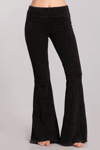 Black Mineral Washed Bellbottoms with Back Pockets