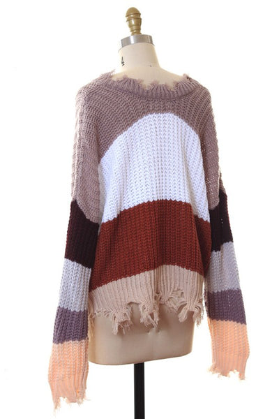 Destroyed Cozy Colorblock Sweater