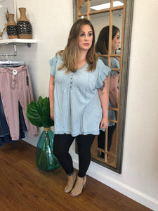 Plus Button Up Babydoll Tunic by Umgee