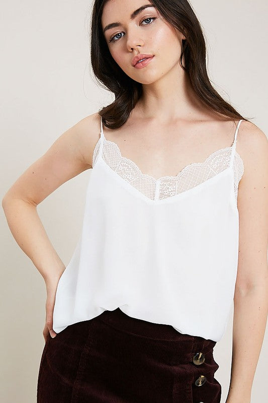 Ivory Lace Trim Cami