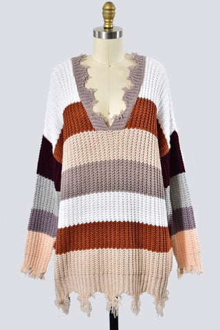 Longer Rust Color Block Sweater