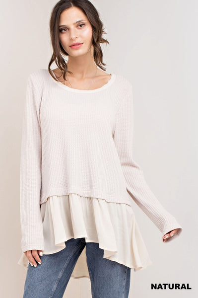 Long Sleeve Knit Top with Ruffle Detail