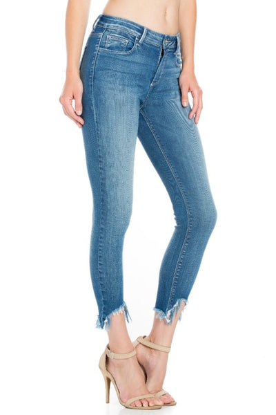 Bohemian Bliss Boutique,Mid Rise Damaged Hem Crop Skinny,Bottoms,Cello Jeans
