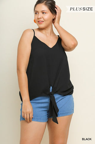 Plus Front Tie Tank Top