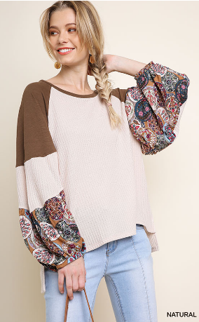 Floral Print Puff Sleeve Waffle Knit Top