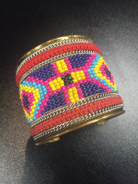 Aztec Beaded Cuff - Bohemian Bliss