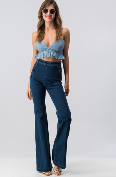 Bohemian Bliss Boutique,High Waisted BellBottom Jeans,Bottoms,La Vida