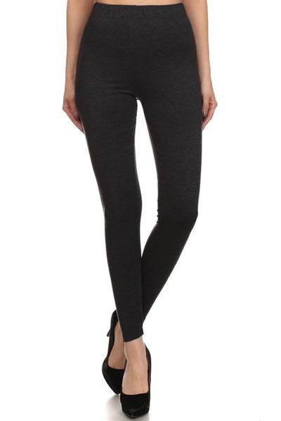 High Waist Black Modal Cotton Leggings - PLUS Size - Bohemian Bliss