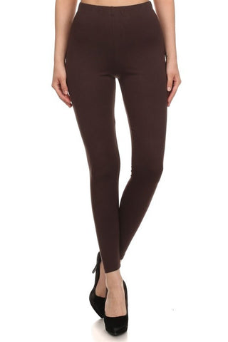 Bohemian Bliss Boutique,High Waist Brown Modal Cotton Leggings - PLUS Size,Plus Bottoms,Red Ribbon
