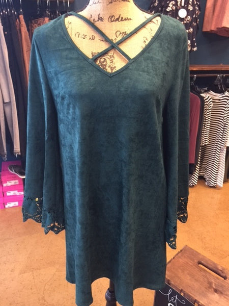 Faux Suede Dress with Criss Cross Neck and Bell Sleeves - Hunter Green