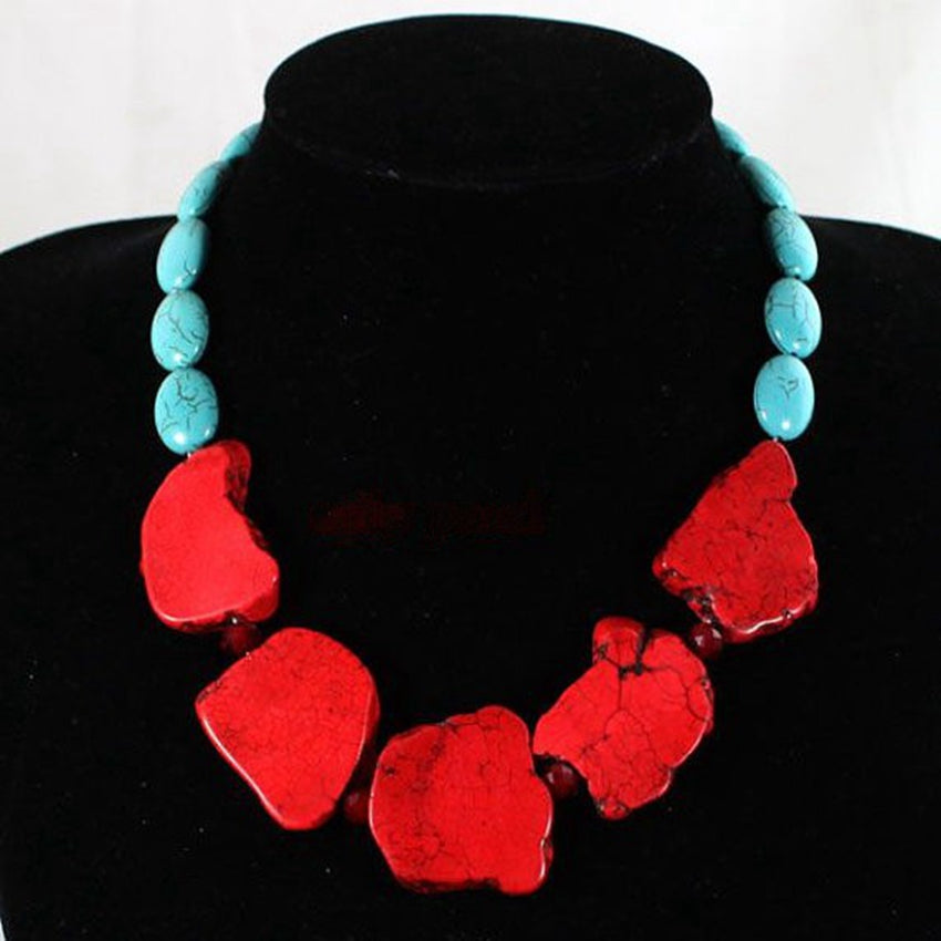 Mixed Color Stone Fashion Necklace, Necklaces - Bohemian Bliss Boutique