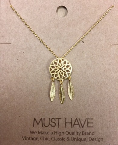 Bohemian Bliss Boutique,MUST HAVE Dream Catcher Pendant Necklace,Necklaces,Golden Stella