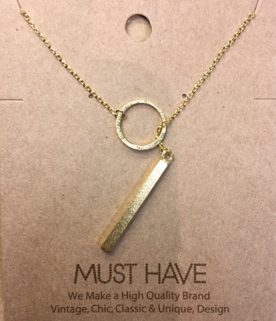 MUST HAVE Gold Circle with Bar Drop, Necklaces - Bohemian Bliss Boutique