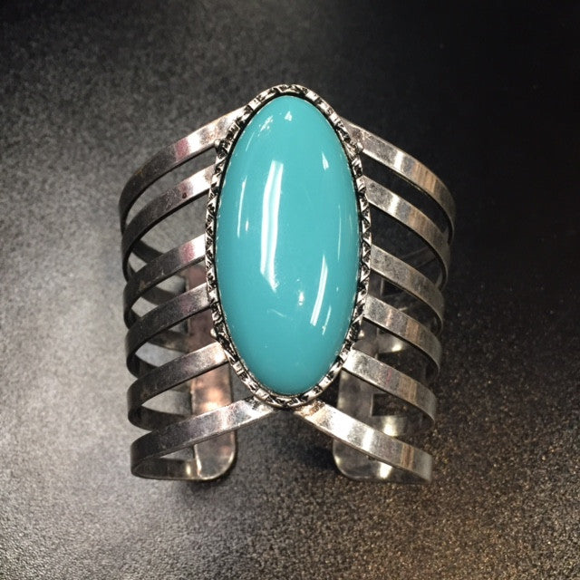Silver/Turquoise Cuff - Bohemian Bliss