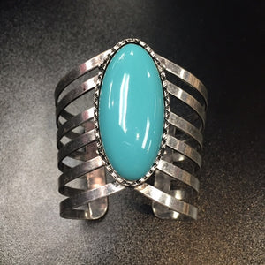 Bohemian Bliss Boutique,Silver/Turquoise Cuff,Cuff,Smokey Mountain