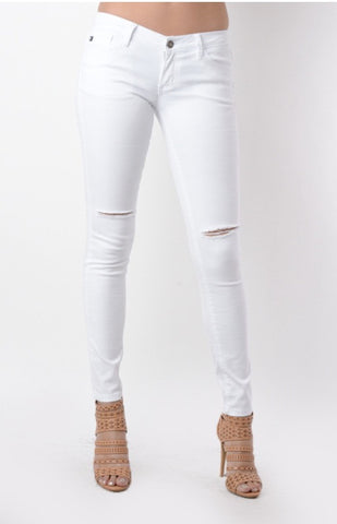 Bohemian Bliss Boutique,White Jeans w/ Knee Slit,Bottoms,Bohemian Bliss