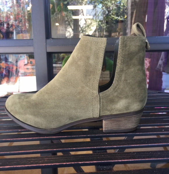 Olive Faux Suede Side Cutout Booties