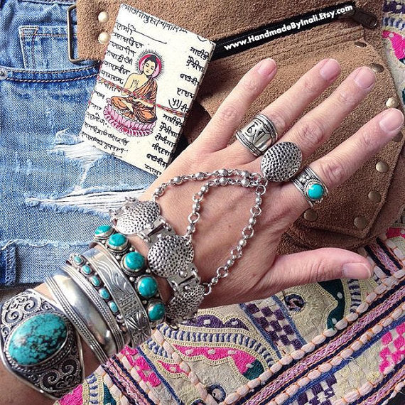 Gypsy Boho Silver Bracelet with Ring, Bracelets - Bohemian Bliss Boutique