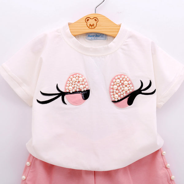 Bohemian Bliss Boutique,Lovely Long Eyelashes Girl Top + Pants,Childrens,Humor Bear official store