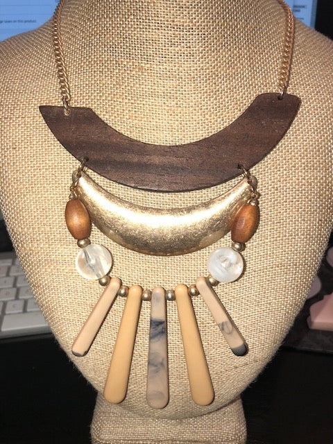 Curved Wood Necklace, Necklaces - Bohemian Bliss Boutique