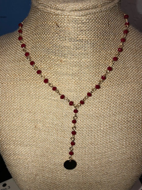 Burgundy Beaded Necklace with Drop Pendant