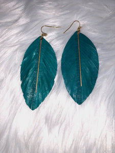 Feather w/ Bar Earrings