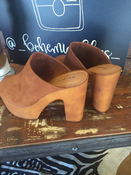 Bohemian Bliss Boutique,Peep Toe Mule Platform (Chestnut),Shoes,JP Original