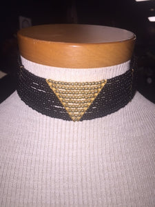Bohemian Bliss Boutique,Black Gold Triangle Choker,Necklaces,Golden Stella