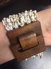 Cream/Gold Beaded Bracelet w/ Wooden Latch - Bohemian Bliss