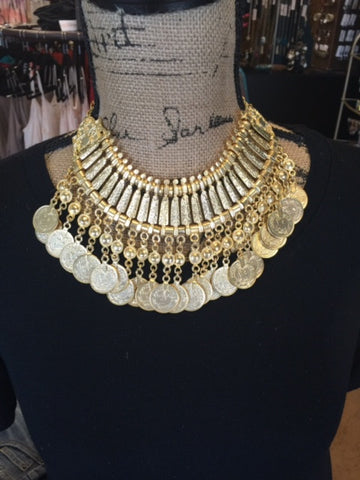 Bohemian Bliss Boutique,Yellow Gold Turkish Coin Necklace,Necklaces,Vagabond Trader