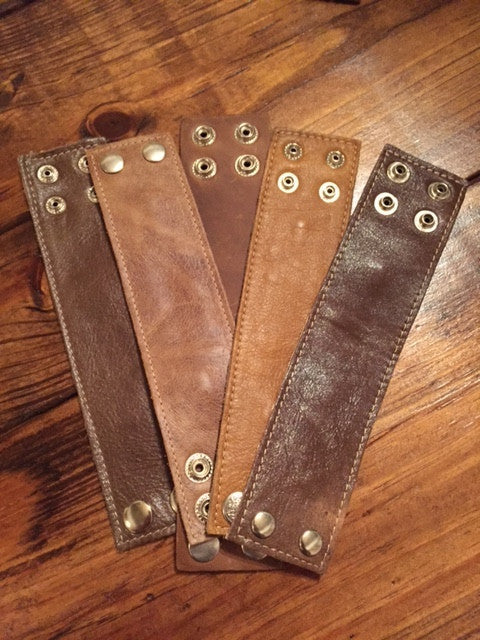 Bohemian Bliss Boutique,Misc Brown Leather Cuffs,Cuff,Bohemian Bliss