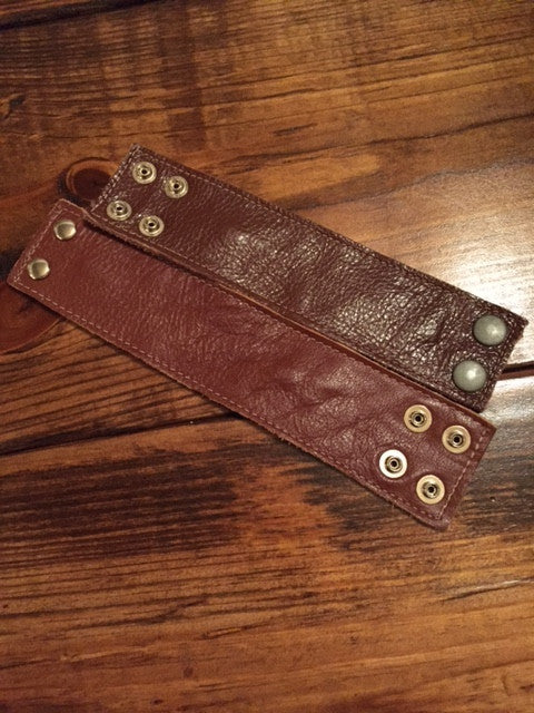 Red Brown Leather Cuff - Bohemian Bliss