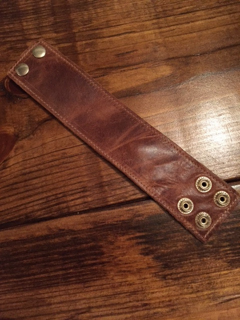 Brown Leather Cuff, Cuff - Bohemian Bliss Boutique