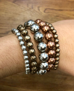 Assorted Metal Ball Stretch Bracelets