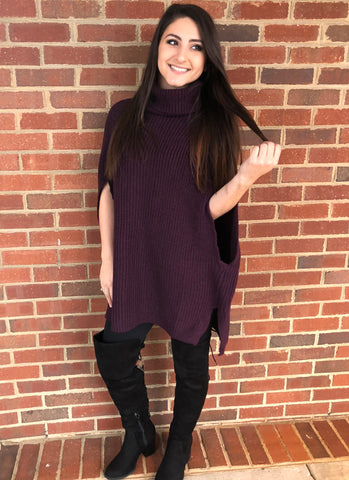 Plum Turtleneck Poncho Sweater