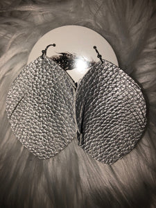 Silver Leather Earrings