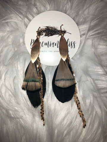 Feather & Chain Earrings