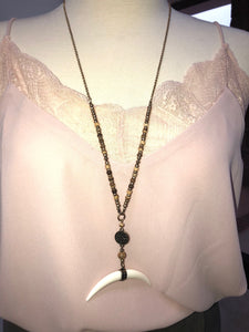 Tusk Horn Pendant Necklace