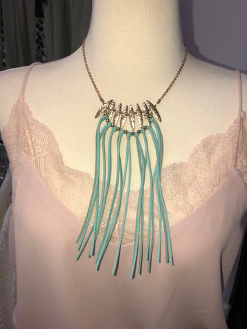 Mint Green & Gold Tassel Necklace